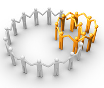 group of animated people forming a circle by holding hands